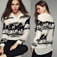 Women Long Sleeve Shirt Loose V-Neck Blouse Casual Horse Printed Chiffon Tops UK