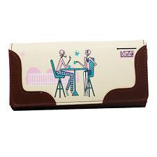 W11 crème marron café amoureux Toile Sac à main femme portefeuille porte carte