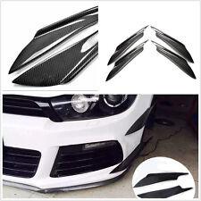 4 PCS black Real Carbon Fiber Car Front Bumper Canard Splitter Canards Exterior