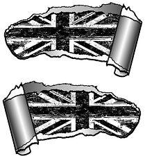 COPPIA di piccole dimensioni Squarciata IN METALLO RIP TAGLIO B&W Grunge Bandiera Union Jack Auto Adesivo MOD
