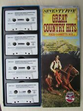 SEVENTY FIVE GREAT COUNTRY HITS FOUR CASSETTE BOX, ORIGINAL VARIOUS, TESTED.