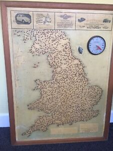 Geograhic Distance Chart Centred On Southport Wooden Framed 27 Inches X 36 Inche