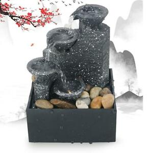 Desktop Water Fountain Ornament LED Waterfall Feng Shui Indoor Home Office Decor
