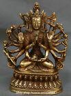 Tibetan Copper 18 Hands Maha Cundi Mother Buddha Kwan Yin Goddess Phurba Statue