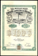 Mexico: La Mexicana Compania Ladrillera de Mixcoac, $100 share, 1905, with co...