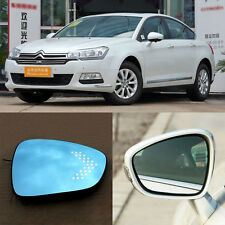 Rearview Mirror Blue Glasses LED Turn Signal with Power Heating For Citroen C5