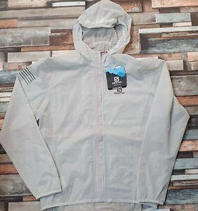 Salomon Bonatti Race Waterproof Hooded Jacket, White, Men's Medium RRP £200.00