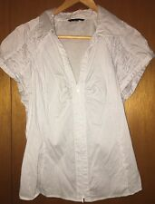 Cue Business Shirt Short Sleeve Size 14 White With Stripes And Zip