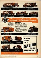 1956 Galion Iron Works Print Advertisement: All Models Graders & Road Rollers