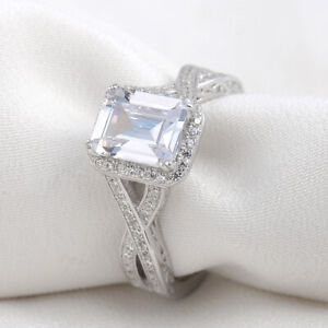 2.52ct Emerald Cz 10k White Gold Plated Wedding Engagement Ring For Women Size 6