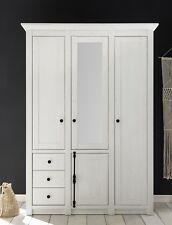 Kleiderschrank 4 trg. WESTERLAND Dekor in Pinie Weiß mit Spiegel und Schubladen