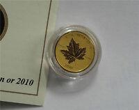 2010 Canada $10 Dollars 99999 Gold Piedfort Maple Leaf Coin 1/5 Oz.Rare 3000 Pc.