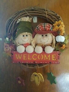Fall Autumn Thanksgiving HAPPY SCARECROW WELCOME GRAPEVINE FALL WREATH