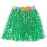 Women Kid Hawaiian Grass Straw Skirt Flower Hula Lei Garland Fancy Dress Costume