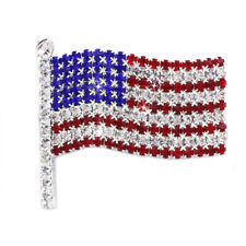4th of July USA American Flag Patriotic Spirit Brooch Pin Independence Day Gift