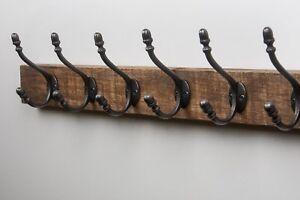 Handmade Wooden Coat Rack Vintage Cast Iron Coat Hook Reclaimed Pallet Wood