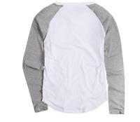 Levi's Girls' Big Long Sleeve Shirt, White/Grey, Medium NWT
