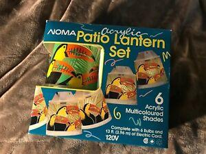 Vintage Noma Patio Lantern Set Lights Acrylic Toucans Camper Trailer