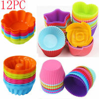 12pcs Soft Silicone Cake Muffin Cupcake Mold Chocolate Baking Cup Mould Kitchen