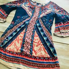 Womens top Flying Tomato sz S small festival tunic art to wear bell sleeve