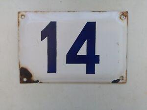 vintage ISRAELI enamel porcelain number 14 STREET house sign # 14