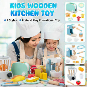 BNWB Wooden Toy Kitchen Accessory Utensils Play Wooden Toaster 11 pieces