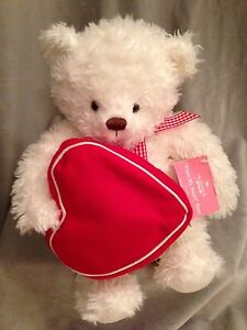 Hallmark Valentine From My Heart Teddy Bear White Red Heart Zipper Pocket Plush