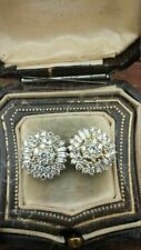 Yellow Gold Over Cluster Stud Earrings Antique 1.20Ct Round Cut Diamond 14K