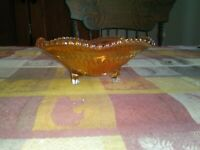 Vintage Marigold Carnival Glass Ribbon Footed Bowl Iridescent Candy Trinket Dish
