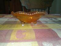 Vintage Marigold Carnival Glass Ribbon Footed Bowl Iridescent Candy Trinket Dish