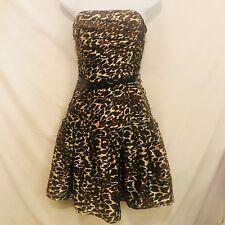 Betsey Johnson Black Label Strapless Silk Leopard Print Dress 6 Belted