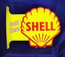 Shell Gasoline Gas Sold Here Flange Metal Tin Sign Large Vintage Style Garage