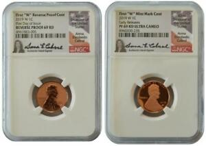 2 Coins 2019-W Anna Cabral NGC PF69 Reverse Proof FDOI,PF69 ER Lincoln Penny