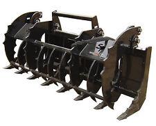 "84"" Industrial Grapple Rake Skid Steer Attachment Bobcat John Deere Gehl Kubota"