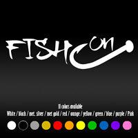 "7"" Fish On Hook Boat  Fishing Truck Car Window Diecut Vinyl Decal sticker"