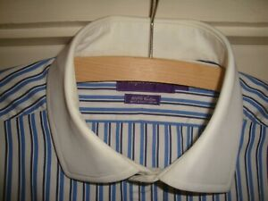 "Purple Label | Ralph Lauren Shirt Blues on White Cotton | 17"" collar"
