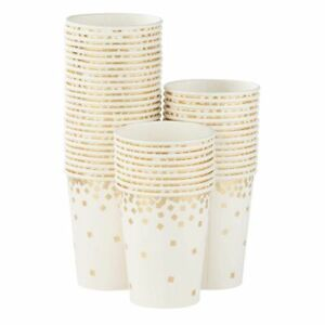 50-Pack Gold Foil Confetti Paper Cup for Wedding, Birthday, Bridal Shower Party