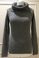 LADIES GREY WOOL BLEND JUMPER WITH CABLE PATTERNED COWL NECK SMALL - UK 10