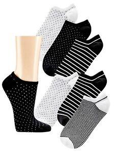 Sneaker-Socken Schwarz-Weiß-Motive, gekämmte Baumwolle, gekettelte Naht, 3 Paar