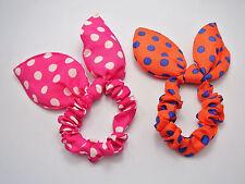 10 Mixed Color Rabbit Bunny Ears Polka Dot Elastic Hair bands Ponytail Holder