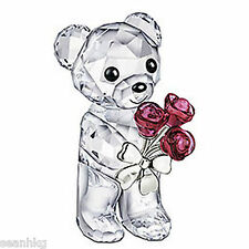 Swarovski Crystal Figurine Kris Bear - Red Rose Flower For You - 1096731