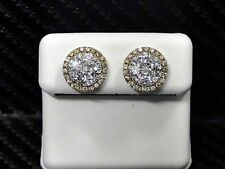 YELLOW COLOR DIAMOND STUDS EARRING 14K WHITE GOLD ROUND CUT UNISEX PAVE SETTING