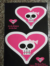 2 Girly Pink Heart Skull Die-Cut Car Window Stickers NEW - FREE SHIPPING