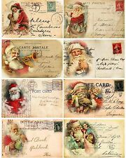 Santa French Mix Postcard Style ~ Christmas Card Making Toppers - Gloss Finish