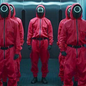 Squid Game Jumpsuit Costume Soldier Halloween Suit Mask Belt Gloves Burgundy UK