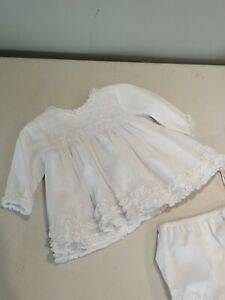 Sarah Louise Newborn Hand Smocked Christening Dress / Gown With Pants & Bonnet