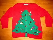 WINNING CHRISTMAS TREE TACKY UGLY CHRISTMAS CARDIGAN SWEATER SIZE MED