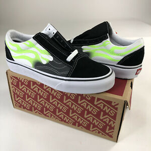 New Vans Off The Wall Old Skool 'Flame' White Green Men Size 4,5 & 8 VN0A4U3BXEY