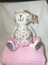 Izziwotnot Fleur Cat Soft Toy Plush With Floral Dress And Pink Baby Cot Blanket