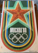 Vintage Original Olympic 1980 Mockba Russia poster 39 X 25